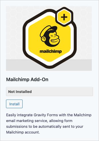 Gravity Forms Mailchimp Add-on Install Screenshot